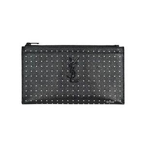 Saint Laurent Monogram Polka Dot Leather Zip Pouch